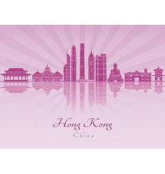 Hong Kong V2 skyline in purple radint orchid vector image