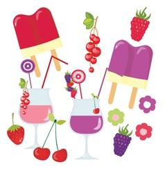 Fresh fruit summer set vector image