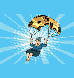 Woman golden parachute financial compensation in vector