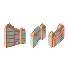 isometric business center modern 3d home plan vector image