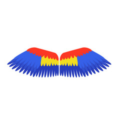 wings blue isolated animal feather parrot bird vector image