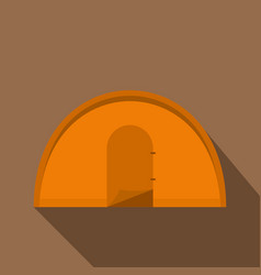 Orange tourist tent icon flat style vector