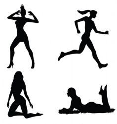 woman silhouette set vector image