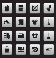 Set of 16 editable dry-cleaning icons includes vector