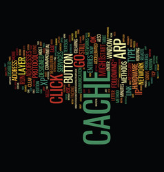 The arp cache text background word cloud concept vector