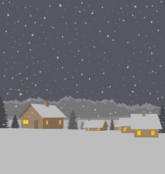 Winter mountain village background vector