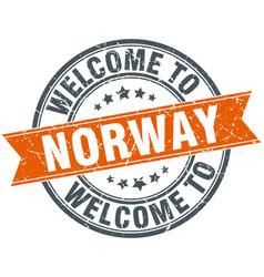Welcome to norway orange round ribbon stamp vector