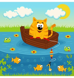 Cat on a boat fishing in a pond vector