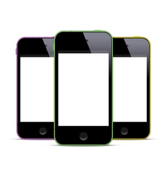 Three colored smartphones with blank screens vector image