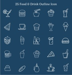 25 Food Drink Outline Icon vector image vector image