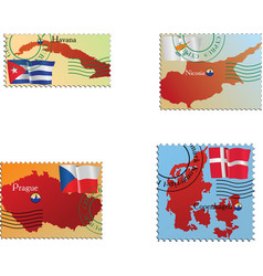 stamp with an image of map vector image