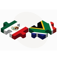 Mexico and south africa flags in puzzle vector