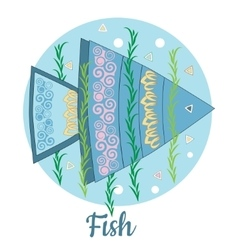 Fish icon on blue background vector