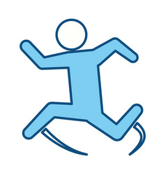 blue line pictogram man jumping up concept vector image