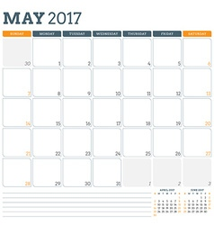 Calendar planner template for may 2017 week starts vector