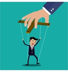 Cartoon businessman marionette vector