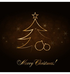 Christmas tree Happy New Year gold background vector image