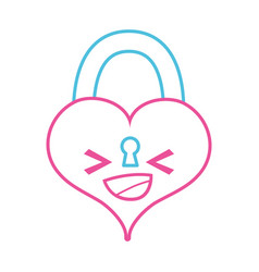 Color line happy heart padlock kawaii personage vector