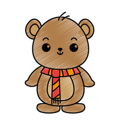 cute bear teddy kawaii character vector image