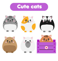 Cute kawaii cats children style isolated design vector