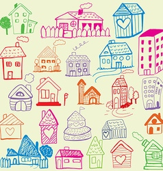Design set Child Like Drawn Houses vector image vector image