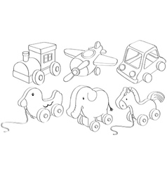 Doodle designs of toys vector image