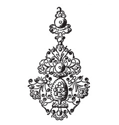 Earring french 17th century vintage engraving vector