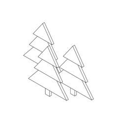 Fir tree icon isometric 3d style vector image