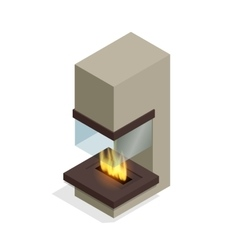 Fireplace modern design Flat 3d isometric vector image