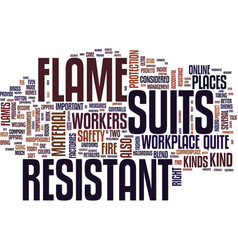 Flame resistant suits text background word cloud vector