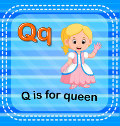 Flashcard letter q is for queen vector