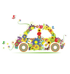 Floral car shape for your design vector image vector image