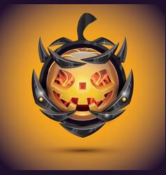 halloween pumpkin with fire flames on armor 3d vector image vector image