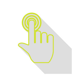 Hand click on button pear icon with flat style vector