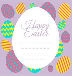 Happy easter card template with colorful eggs vector