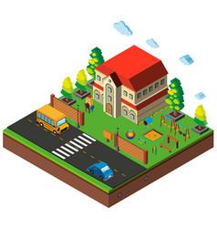 Isometric school playground scene vector