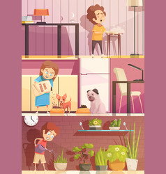 Kids cleaning cartoon banners set vector