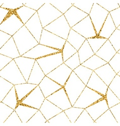Mosaic geometric seamless pattern 3D gold white 1 vector image