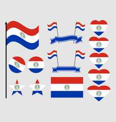 paraguay flag set collection of symbols flag vector image