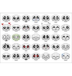 pixel skull smiley icons set vector image vector image