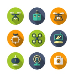 Set flat icons of quadrocopter multicopter drone vector