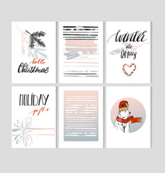 set of artistic creative merry christmas and nyew vector image vector image