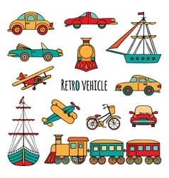 Set of retro vechicle vector image