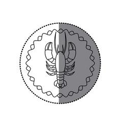 Sticker monochrome contour with circular frame vector