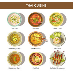 Thai cuisine poster with traditional dishes on vector
