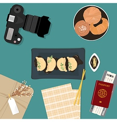 Traditional chinese food steamed dumpling served o vector image