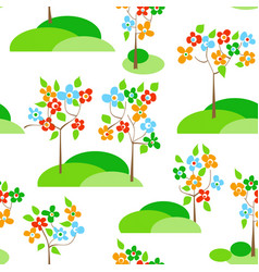 trees in bloom seamless pattern vector image