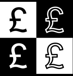 Turkish lira sign black and white icons vector