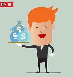 Waiter serving money - - eps10 vector
