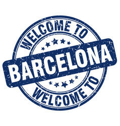 Welcome to barcelona blue round vintage stamp vector
